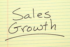 Sales Growth On A Yellow Legal Pad. The word `Sales Growth` underlined on a yellow legal pad Stock Image