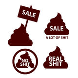 Sales icon logo with shit. Lies, deception marketing. shopping Stock Images