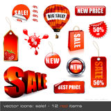 Sales icon set. Set of red sales icons and design elements - 12 items Stock Image