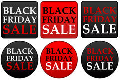 Sales icons. For Black Friday in black, red and white stock illustration