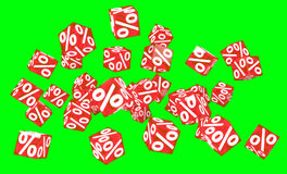 Sales icons floating in the air 3D rendering. Sales icons floating in the air on green background 3D rendering Royalty Free Stock Images