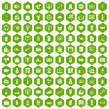 100 sales icons hexagon green. 100 sales icons set in green hexagon isolated vector illustration Vector Illustration