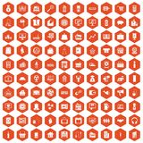 100 sales icons hexagon orange. 100 sales icons set in orange hexagon isolated vector illustration royalty free illustration