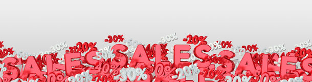 Sales icons and percent banner floating in the air 3D rendering Stock Image