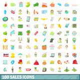 100 sales icons set, cartoon style. 100 sales icons set in cartoon style for any design vector illustration Stock Images
