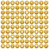100 sales icons set gold. 100 sales icons set in gold circle isolated on white vector illustration Vector Illustration