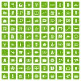 100 sales icons set grunge green Royalty Free Stock Image