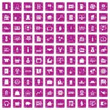 100 sales icons set grunge pink. 100 sales icons set in grunge style pink color isolated on white background vector illustration Stock Illustration