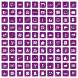100 sales icons set grunge purple. 100 sales icons set in grunge style purple color isolated on white background vector illustration Royalty Free Stock Photos