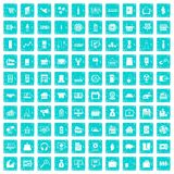 100 sales icons set grunge blue. 100 sales icons set in grunge style blue color isolated on white background vector illustration Royalty Free Illustration