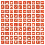 100 sales icons set grunge orange. 100 sales icons set in grunge style orange color isolated on white background vector illustration Stock Illustration