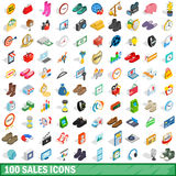 100 sales icons set, isometric 3d style Stock Photos