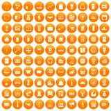 100 sales icons set orange. 100 sales icons set in orange circle isolated on white vector illustration Stock Illustration