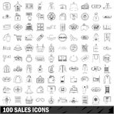100 sales icons set, outline style. 100 sales icons set in outline style for any design vector illustration stock illustration