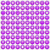 100 sales icons set purple. 100 sales icons set in purple circle isolated on white vector illustration Vector Illustration