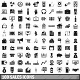 100 sales icons set, simple style Stock Photos