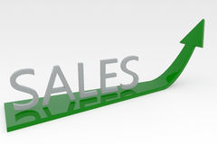 Sales Increase. The word sales sat on a green arrow pointing up on a white background Royalty Free Stock Photo