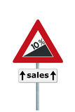 Sales increase ahead. Road sign depicting a 10 per cent increase of sales stock illustration