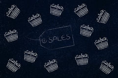 Sales item label surrounded by flying shopping baskets. Shopping concept: Sales item label surrounded by flying shopping baskets full of items Royalty Free Stock Photography