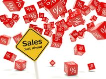 Sales just ahead road sign Royalty Free Stock Image