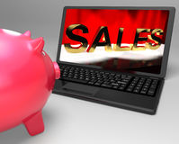 Sales On Laptop Showing Online Commerce Stock Images
