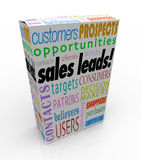 Sales Leads Box Package New Customers Prospects Competitive Adva. Sales Leads words on a product box or package to illustrate a competitive advantage of finding Stock Images