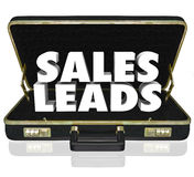 Sales Leads Briefcase Words New Customers Prospects Opportunity. Sales Leads words in a black leather briefcase to illustrate new customers or prospects in a Stock Image