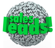 Sales Leads Dollar Sign Sphere Money Converting Prospects Custom. Sales Leads words on 3d sphere of dollar signs or symbols to illustrate converting prospects Stock Photo