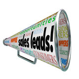Sales Leads Megaphone Bullhorn Words New Prospects Customers. Sales Leads and other words like contacts, targets, consumers, shoppers, buyers, purchasers, users Royalty Free Stock Image