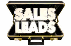 Sales Leads New Selling Prospects Customers Briefcase. 3d Words royalty free illustration