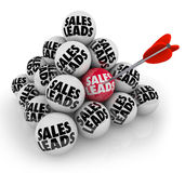 Sales Leads Pyramid Balls New Business Customers Prospects. Sales Leads words on a pyramid of stacked balls to illustrate new customers or prospects for your Stock Photos
