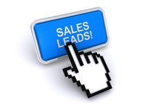 Sales leads !. Text 'sales leads!' in white uppercase letters on screen with blue background and finger of an electronically generated hand pointing to the text Royalty Free Stock Photos