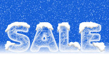 Sales lettering in ice letters with snow Royalty Free Stock Image