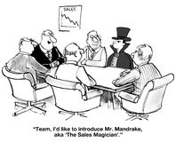 Sales Magician. Business cartoon of a meeting including a magician and a chart of declining sales. 'Team, I'd like to introduce Mr. Mandrake, aka 'The Sales vector illustration