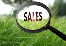 Sales. Magnifying glass with the word sales on grass background. Selective focus Stock Image
