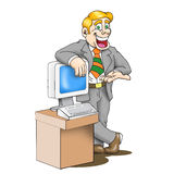 Sales man. Cartoon artwork line-art with empty balloon Stock Images
