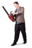 Sales man holding chainsaw. Slashing sale prices Royalty Free Stock Photos
