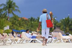 Sales man in Playa del Carmen , Mexico. Playa del Carmen and Riviera Maya beach, Mexico Stock Photos