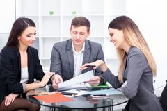Sales manager giving advice to his couple clients.  stock images