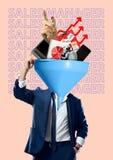 Sales manager. Modern design. Contemporary art collage. stock photos