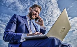 Sales manager responsibilities. Ultimate guide to becoming sales leader. Stay in touch. Man formal suit work with laptop stock photography