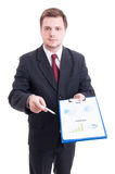 Sales manager or salesman showing printed financial charts and s Stock Photos