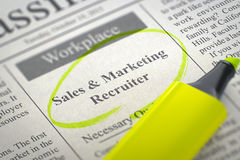 Sales and Marketing Recruiter Job Vacancy. 3D. stock image