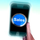 Sales On Mobile Phone Shows Promotions And Deals Stock Image