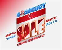 Sales of Ninth August, Singapore National day. Holiday background with 3d texts, crescent moon facing a pentagon of five stars and national flag colors for sales stock illustration