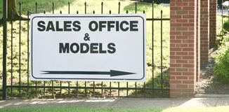 Sales Office and Models. A real estate property, models and sales office Royalty Free Stock Image