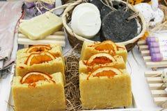 Sales of orange handmade soap Stock Photo