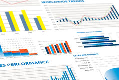 Sales performance and business graphs. Selection of financial and economic graphs as a background graphic Stock Photos