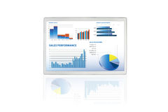 Sales performance and business graphs on a touchsc. Selection of financial and economic graphs on a screen Royalty Free Stock Images