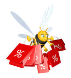 Sales period. Cute 3D bee with a lot of sales bags Stock Image